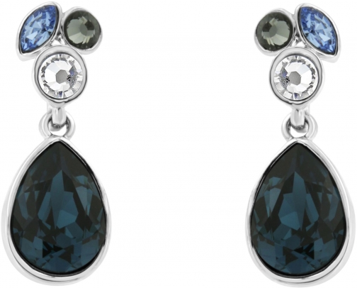 Aurora Flash Rhodium Plated Crystal Drop Earring