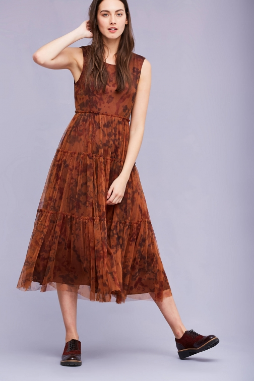 Anthropologie Mellena Tiered , Orange Maxi Dress