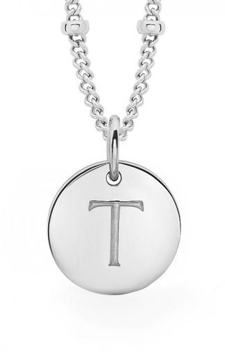 Missoma Ladies Silver Initial T With Beaded Chain Pendant