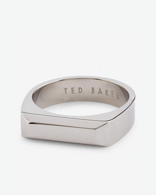 Ted Baker Rectangular Stainless Steel Silver Colour Ring