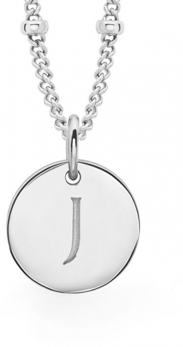 Missoma Ladies Silver Initial J With Beaded Chain Pendant