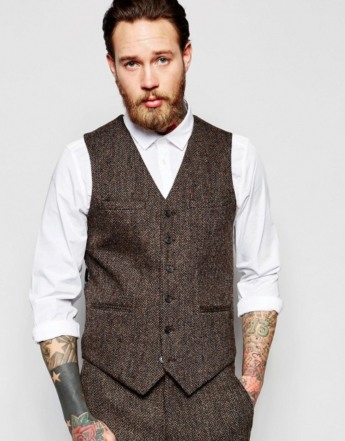 Asos Slim Waistcoat Brown Harris Tweed 100% Wool Suit