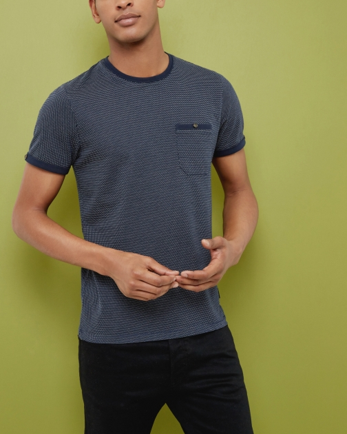 Ted Baker Spotted Cotton Navy T-Shirt