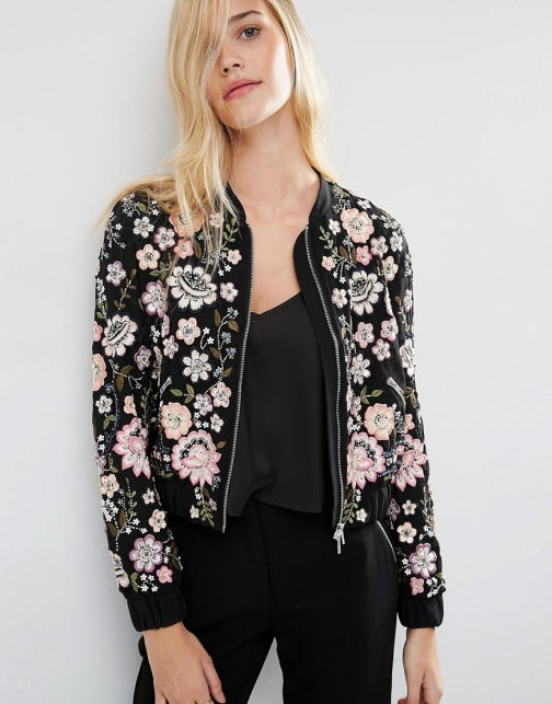 Needle & Thread Embroidery Lace Bomber Jacket
