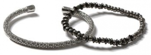 Topman Mens SILVER Mixed Metal Cuff And Beaded Stretch Pack*, SILVER Bracelet