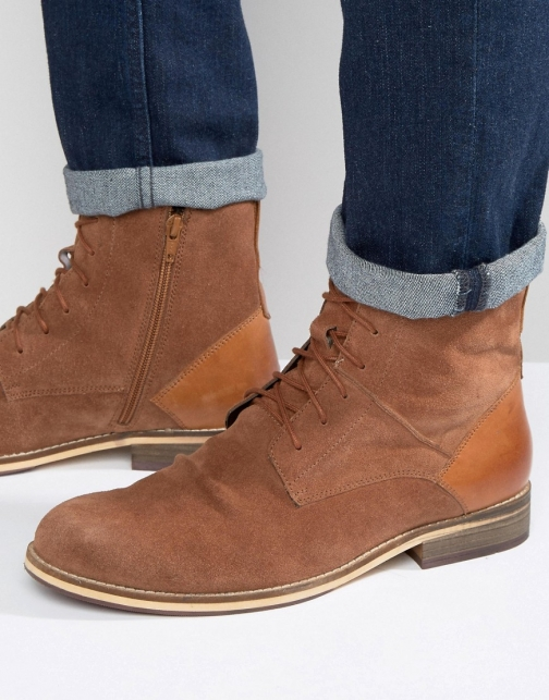 Frank Wright Lace Up Tan Suede Boot