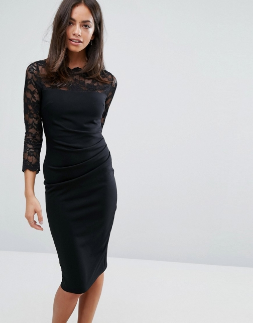 Asos City Goddess 3/4 Sleeve Lace Midi Dress