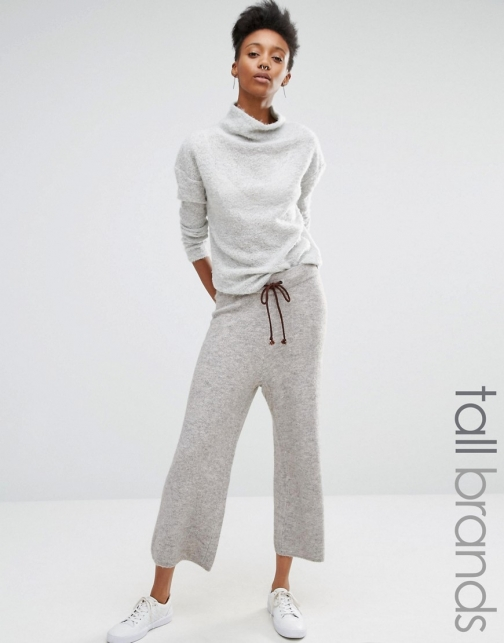 Asos Noisy May Tall Contrast Soft Knit Culottes Tie