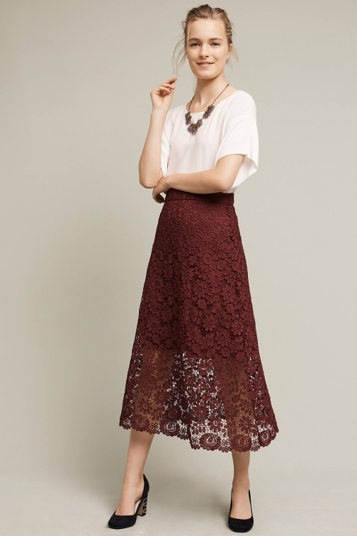 Anthropologie Laced Artefact , Purple Midi Skirt