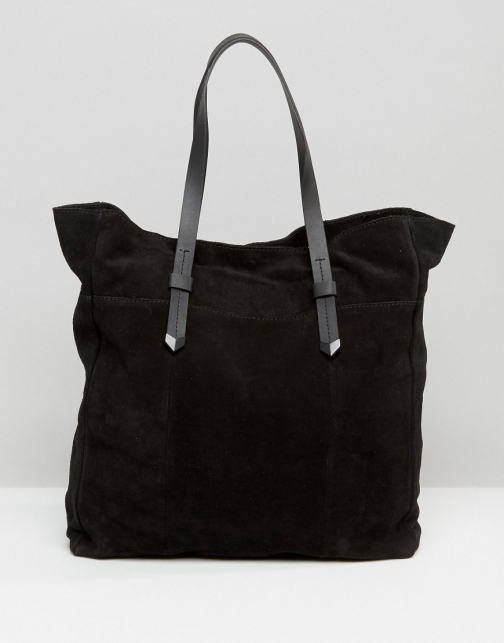 Pieces Large Suede Shoulder Bag