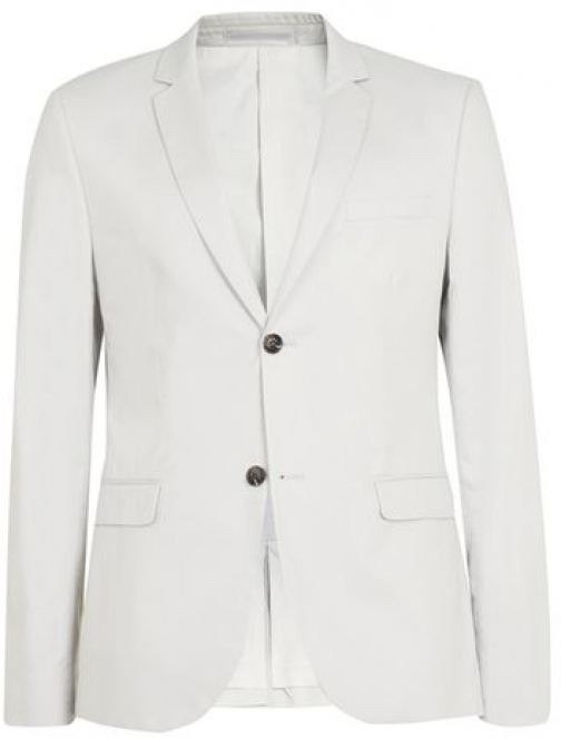 Topman Mens Stone Poplin Cotton Skinny Fit , Stone Suit Jacket
