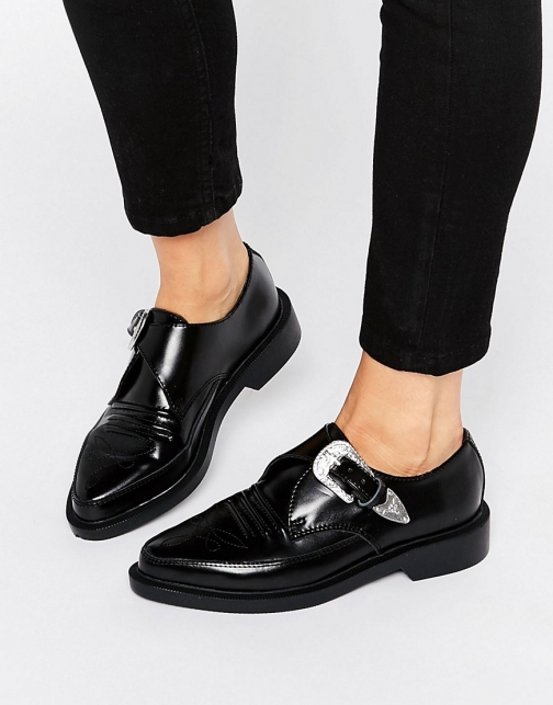 Asos T.U.K. Western Leather Point Flat Shoes