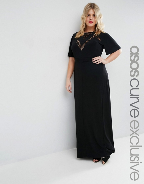 Asos Curve CURVE With Lace Inserts & Flutter Sleeve Maxi Dress