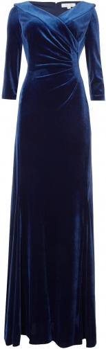 House Of Fraser Tahari ASL Envelope Stretch Velvet Gown Collar