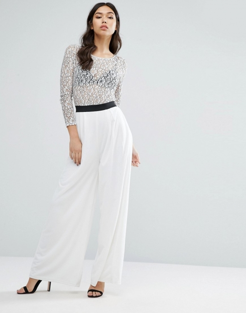 Rare Lace Sleeve Wide Leg Jumpsuit