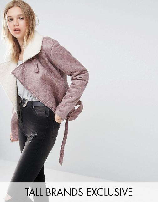 Asos Glamorous Tall Faux Shearling Aviator Jacket