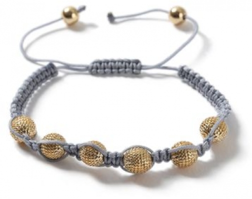 Topman Mens Grey. Grey Fabric And Gold Look Pave Ball *, Grey. Bracelet