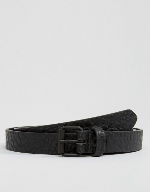 Asos Skinny Black With Texture Belt