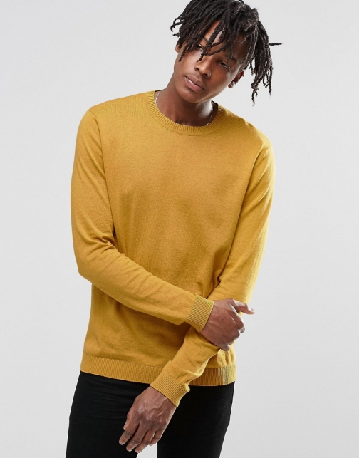 Asos Crew Neck Yellow Cotton Jumper