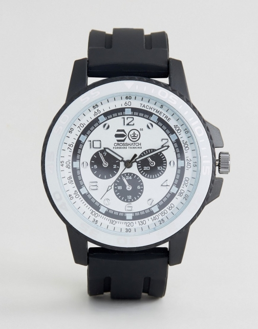 Crosshatch Black With White Dial With Imitation Inner Dials Watch