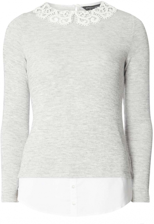 Dorothy Perkins Womens Grey Jersey With Ivory - Grey Collar