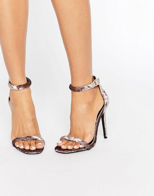 Missguided Velvet Barely There Heeled Sandal