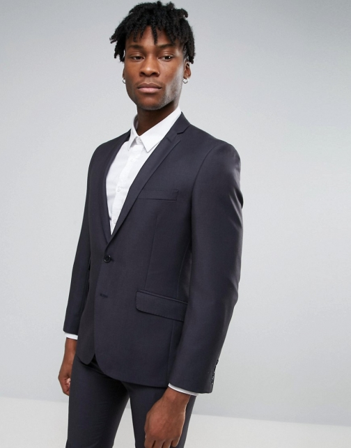 Ben Sherman Slim Fit Navy Pin Dot Suit Jacket