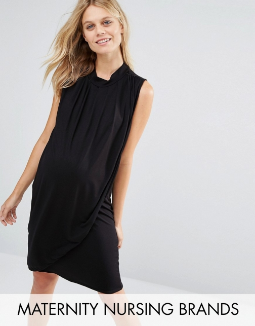 Mamalicious Nursing Sleeveless Drape Front Jersey Dress