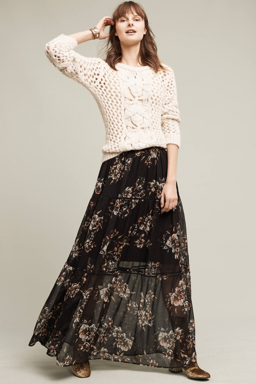 Anthropologie Izabelle Floral Maxi , Black Skirt
