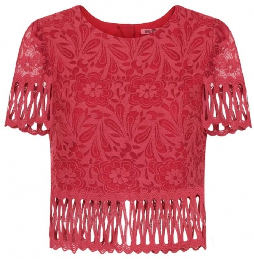 Dorothy Perkins Womens **Chi Chi London Red Cutwork - Red Top