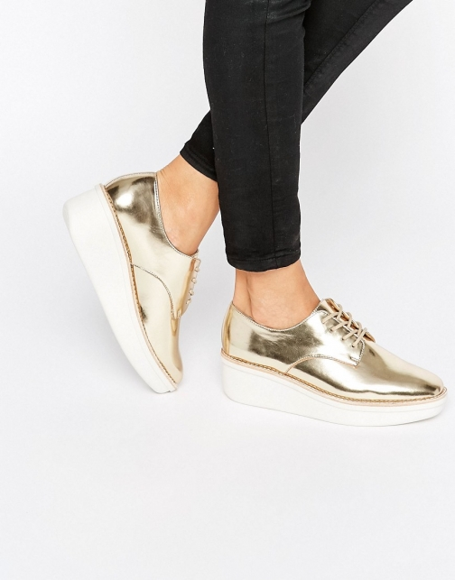Aldo Rivale Metallic Chunky Flat Shoes