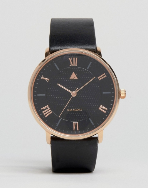 Asos Leather Strap With Rose Gold Highlights Watch