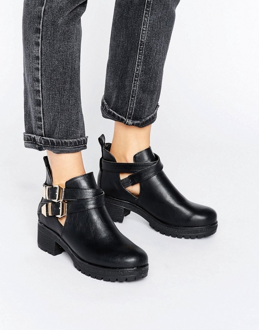 London Rebel Chunky Metal Trim Flat Boot