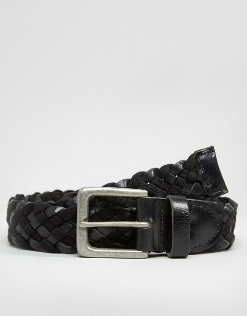Asos Leather And Woven Plaited Belt