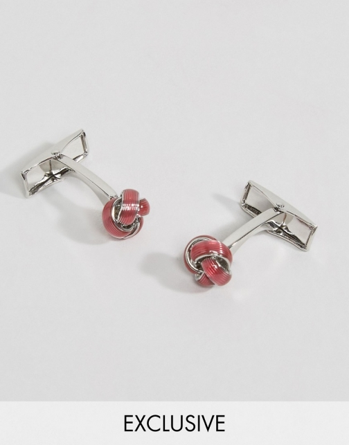 Reclaimed Vintage Textured Knot Pink Cufflink