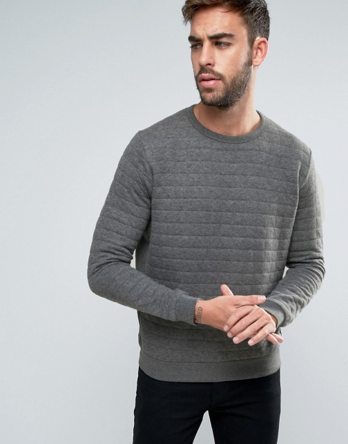 French Connection Crew Neck Quilted Square Sweat Jumper