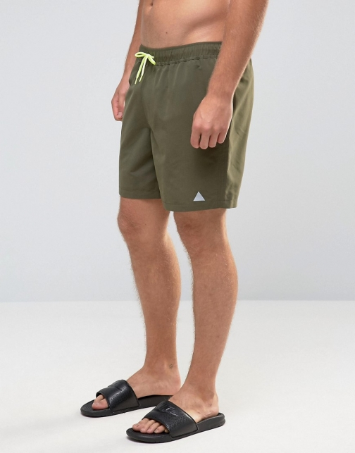 Asos Khaki With Triangle Logo Print Mid Length Swim Short