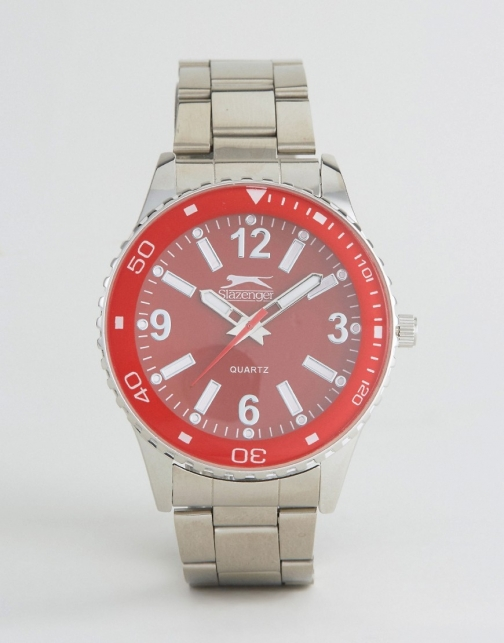 Slazenger Silver With Red Dial Watch