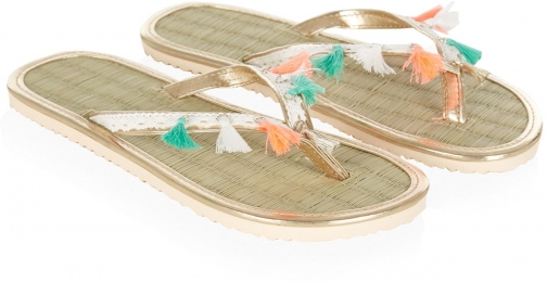 Monsoon Girls Bead Tassel Seagrass Flip Flop