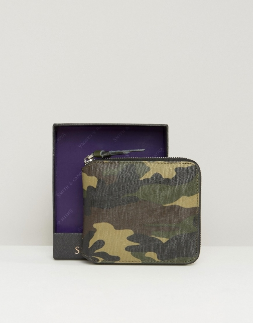 Asos Smith And Canova Zip Round Leather Camo Wallet