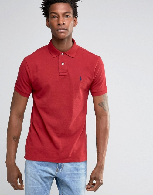 Polo Ralph Lauren Slim Fit Shirt With Logo Red Polo
