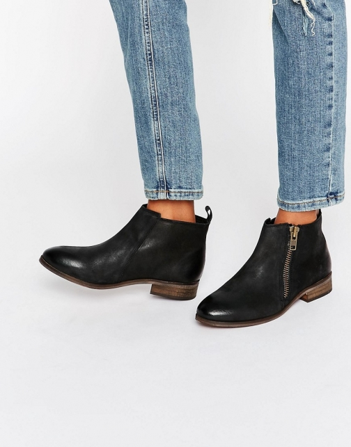 Miss Kg Spitfire Zip Black Leather Ankle Boot