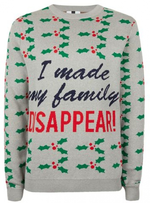 Topman Mens Grey I Made My Family Disappear Christmas , Grey Jumper