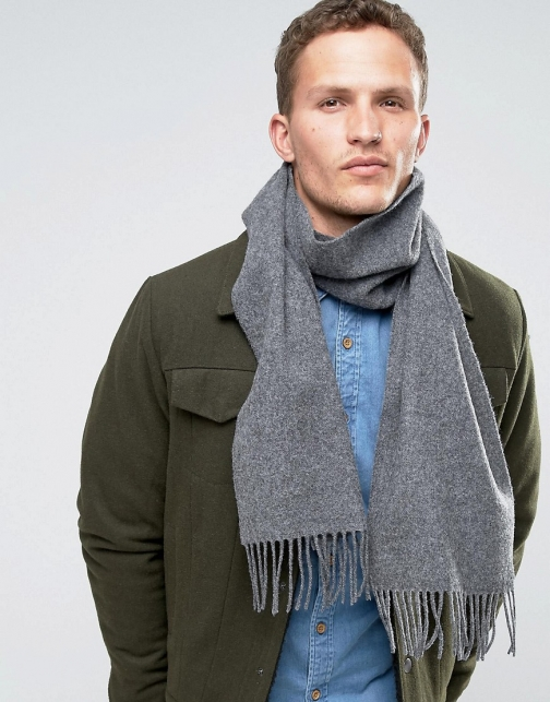 Asos Glen Lossie Lambswool Grey Scarf