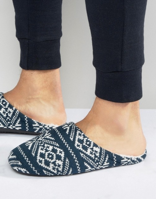 Asos Slip On Navy Christmas Fairisle Slipper