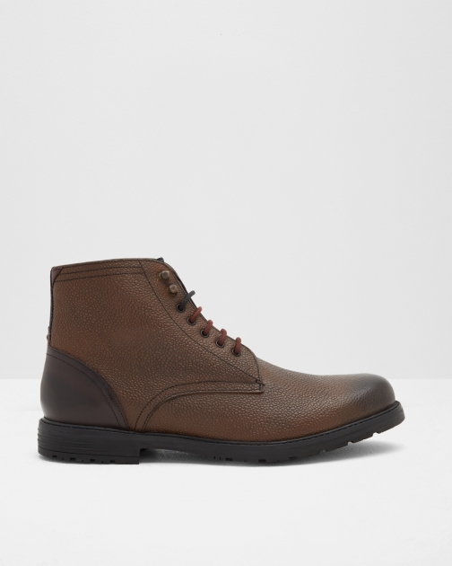 Ted Baker Pebble Grain Leather Ankle Brown Boot
