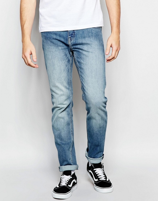 Cheap Monday Sonic Slim Fit Atomic Blue Mid Vintage Wash Jeans