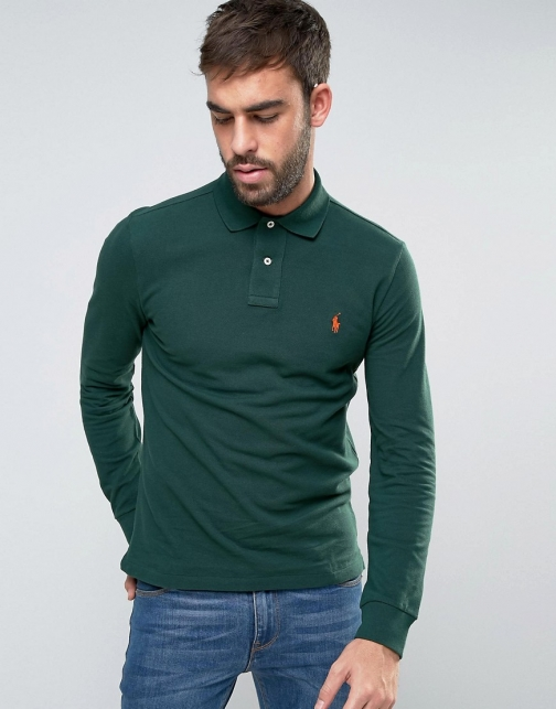 Polo Ralph Lauren Slim Fit Shirt With Logo Green Polo
