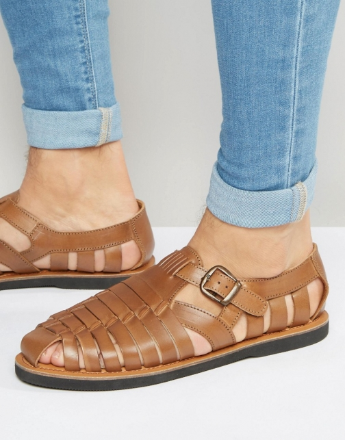 Kg By Kurt Geiger Woven Buckle Tan Leather Sandal