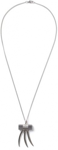 Topman Mens Grey Silver Look Tube Spike *, Grey Necklace